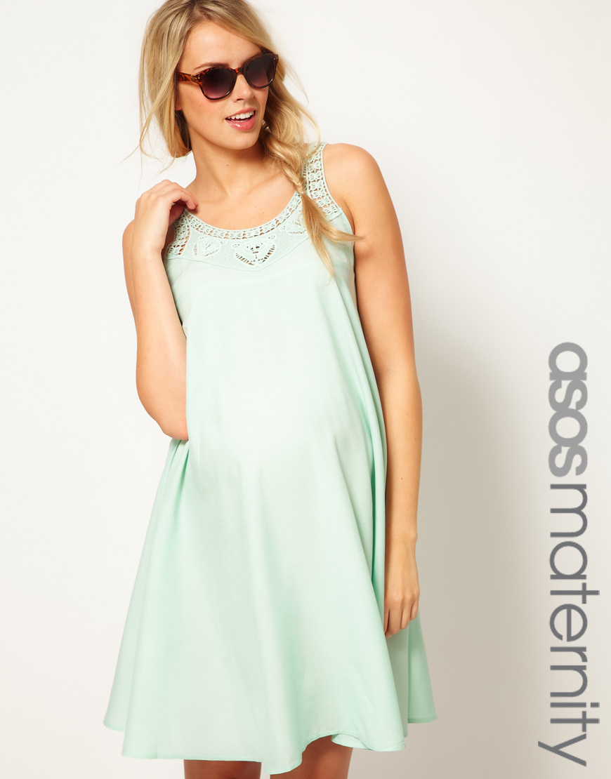 Lyst asos swing dress with crochet neck detail in green gallery womens crochet dresses ombrellifo Choice Image