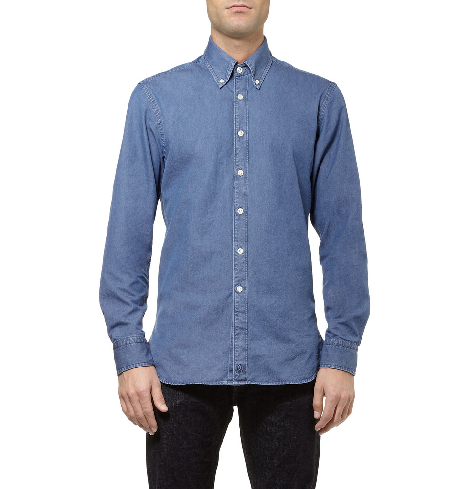 Dunhill slim fit cotton chambray shirt in blue for men lyst for Casual button down shirts untucked