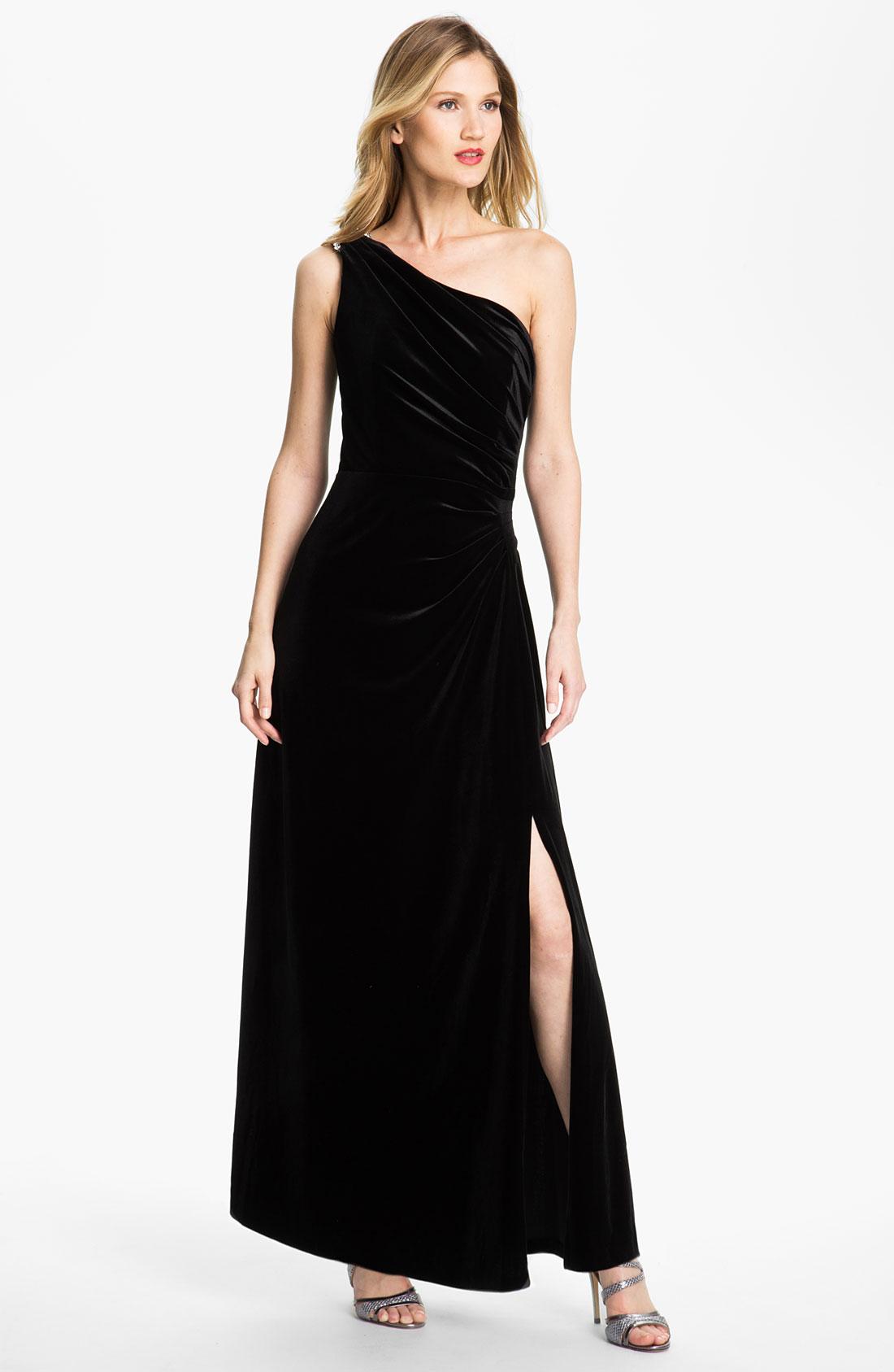 Alex Evenings One Shoulder Side Slit Velvet Gown In Black