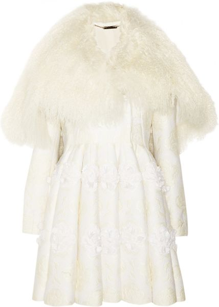 Alexander Mcqueen Shearling and Floral Appliqué Brocade Coat in White