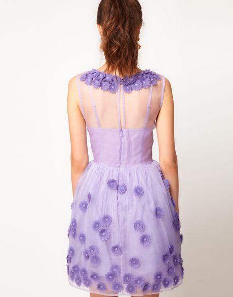 Asos Collection Asos Silk Skater Dress In Floral Applique