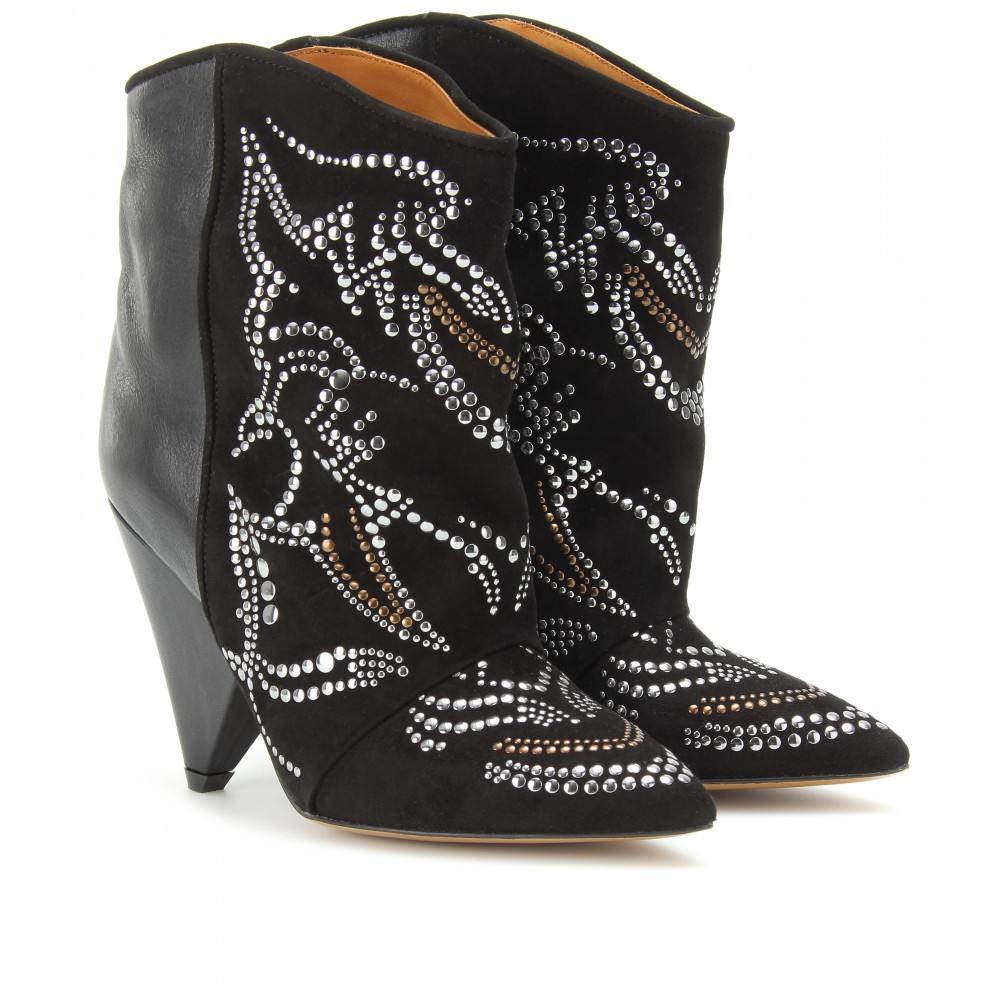 isabel marant memphis studded suede and leather ankle boots in black noir lyst. Black Bedroom Furniture Sets. Home Design Ideas