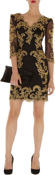 Karen Millen Baroque Mesh Dress in Black