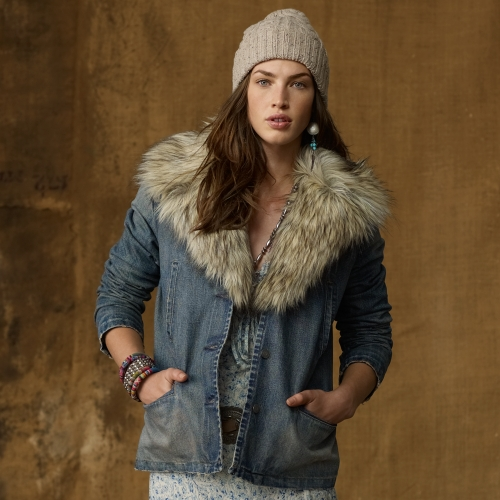 Lyst Ralph Lauren Denim Faux Fur Trim Jacket In Blue