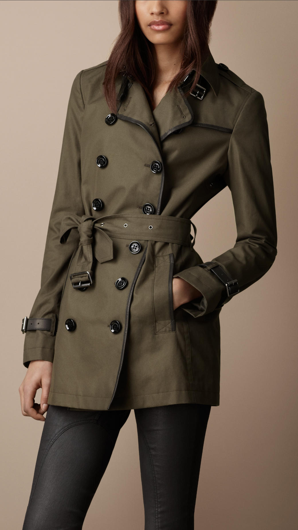 Burberry Brit Short Cotton Leather Detail Trench Coat In