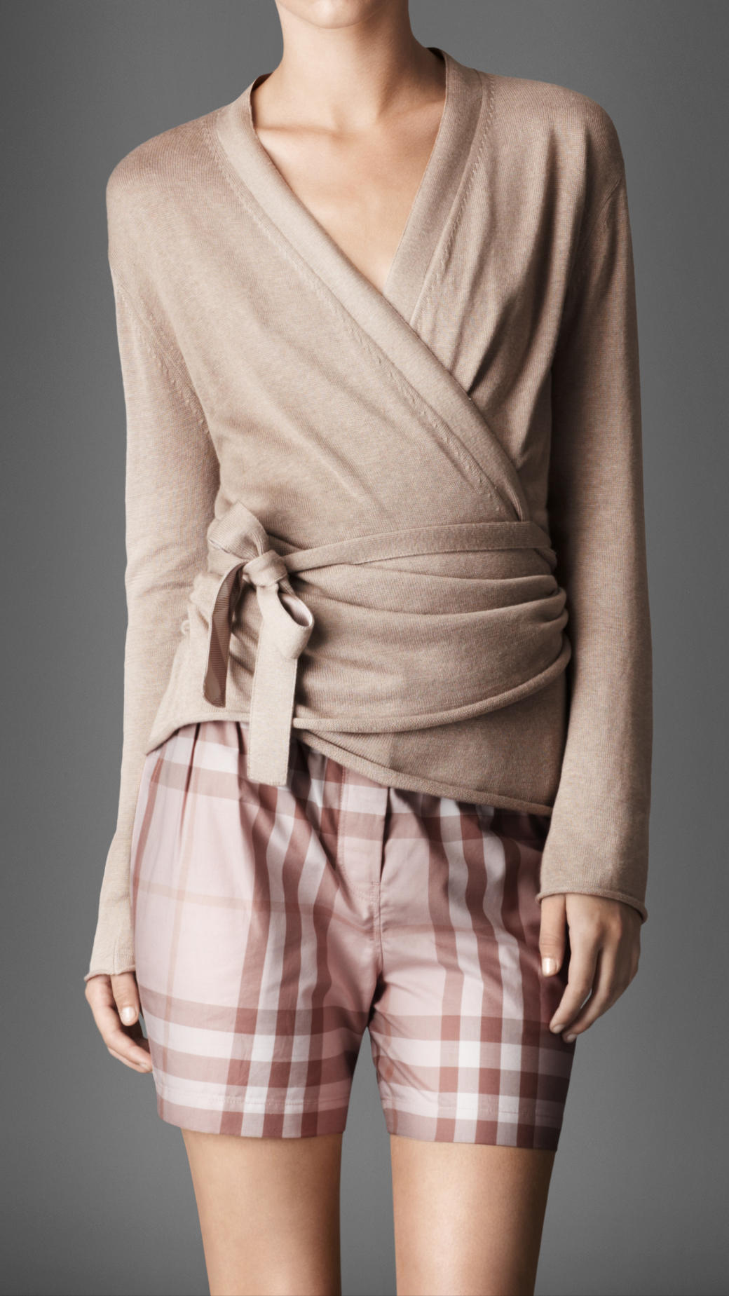 Burberry Silk Blend Wrap Cardigan in Natural | Lyst