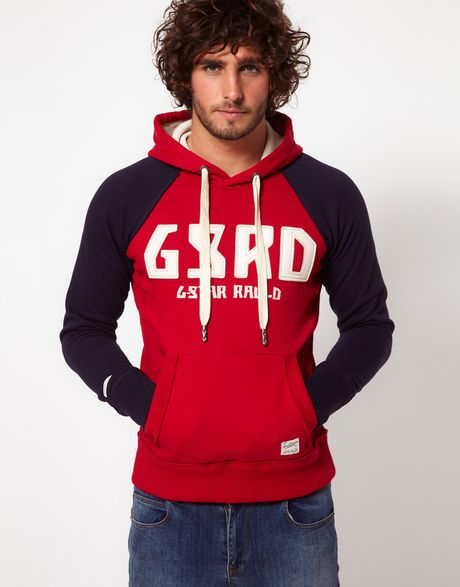 g star raw hoodie with logo in red for men lyst. Black Bedroom Furniture Sets. Home Design Ideas