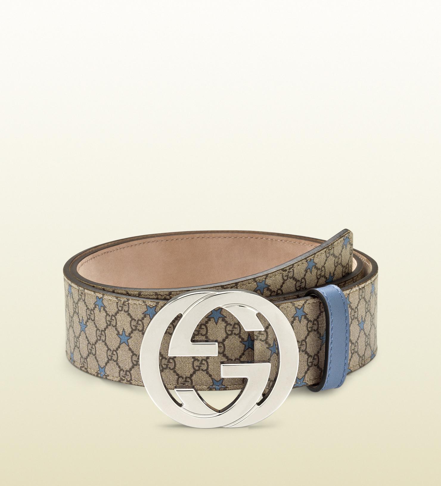 e383373dd Gucci Gg Supreme Canvas Belt with Interlocking G Buckle in Natural ...