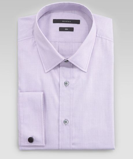 Gucci French Cuff Dress Shirt In Purple For Men Lavender