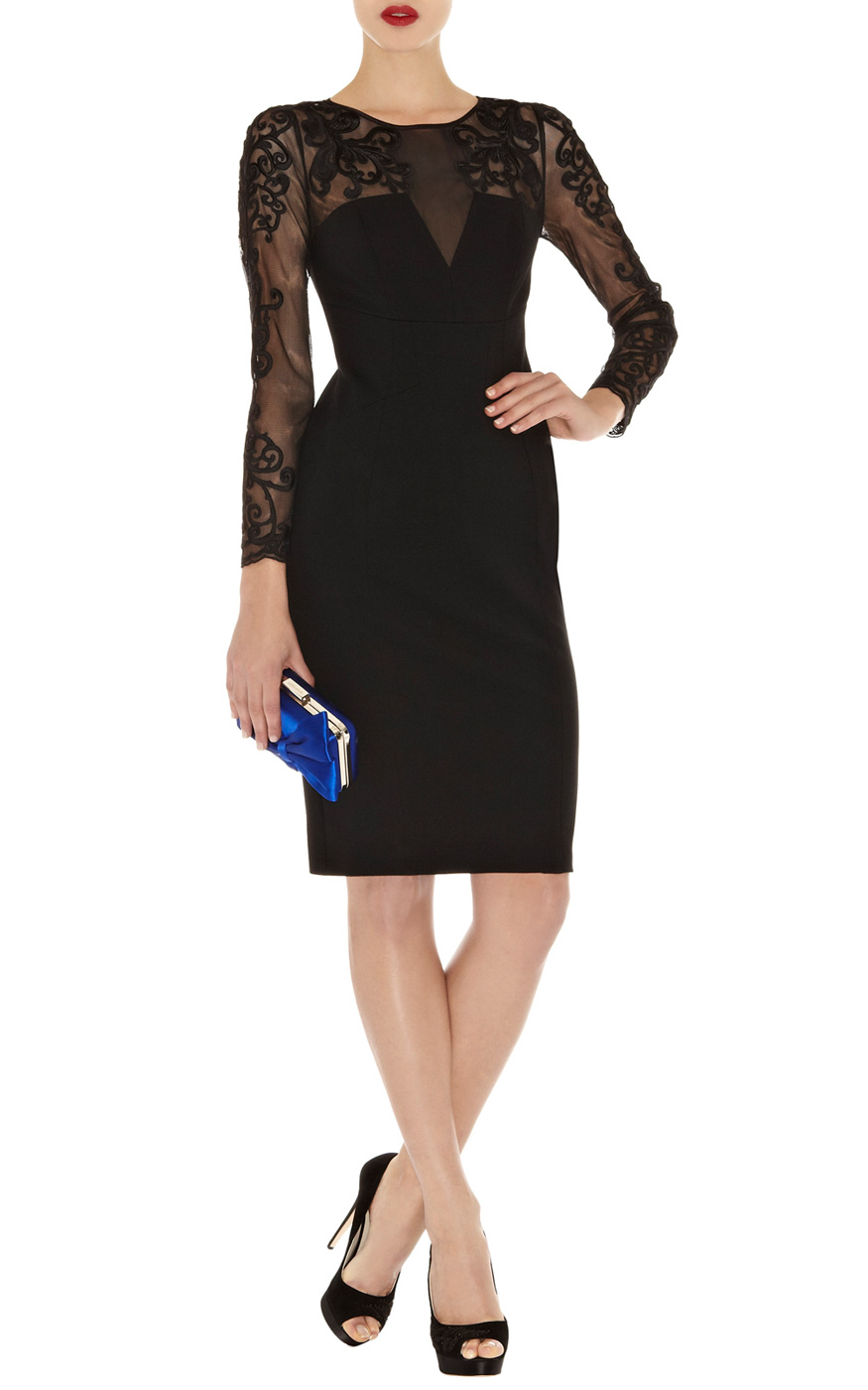 Karen Millen Lace Sleeve Pencil Dress In Black Lyst