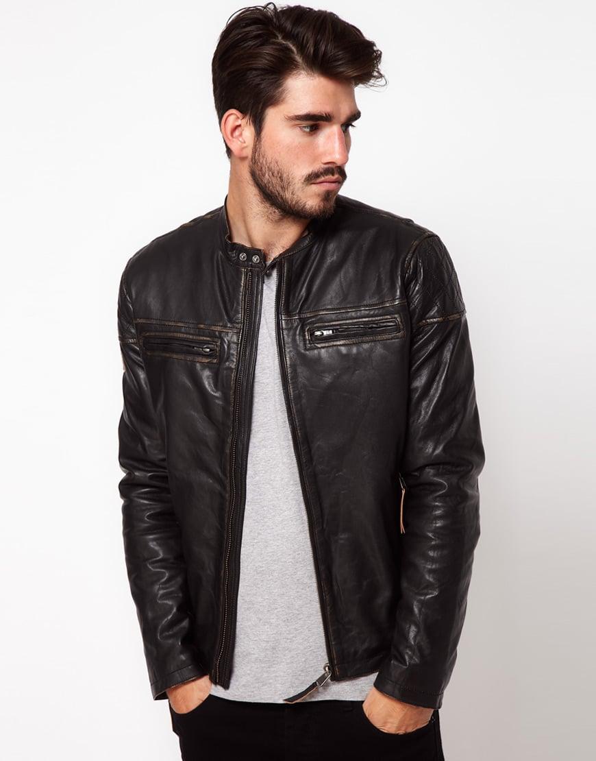Pepe Jeans Pepe Leather Biker Jacket in Black for Men - Lyst