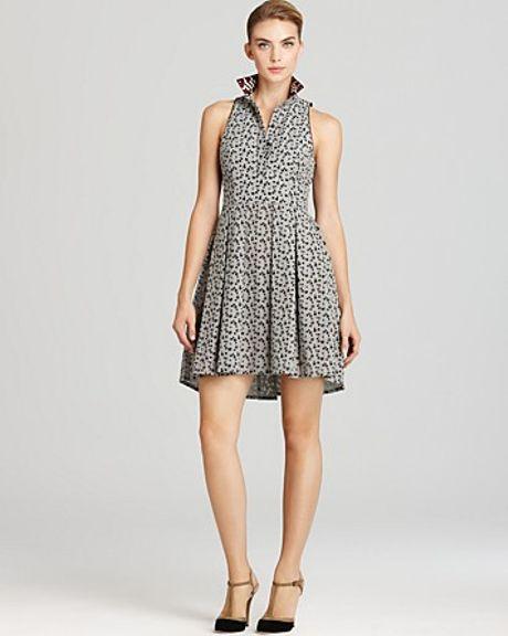Sachin & Babi Dress Capri Handembellished Collar in Gray (checker)