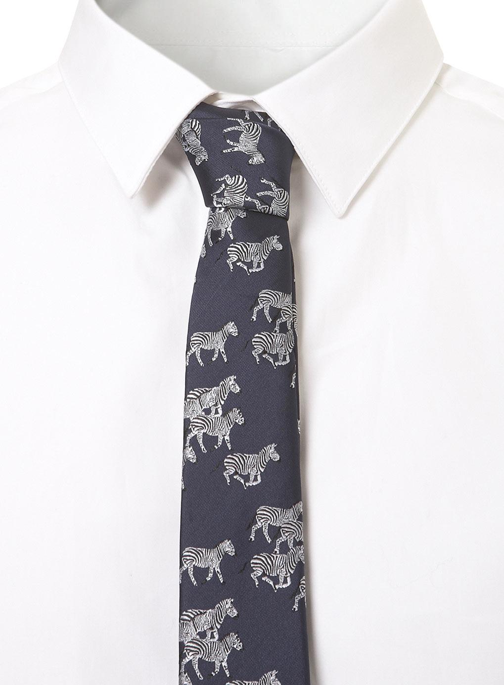 99a1d85af309 TOPMAN Navy Zebra Motif Tie in Blue for Men - Lyst