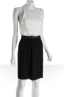 Black  White Maxi Dress on Black White Black And White Stretch Silk High Neck Halter Belted Dress
