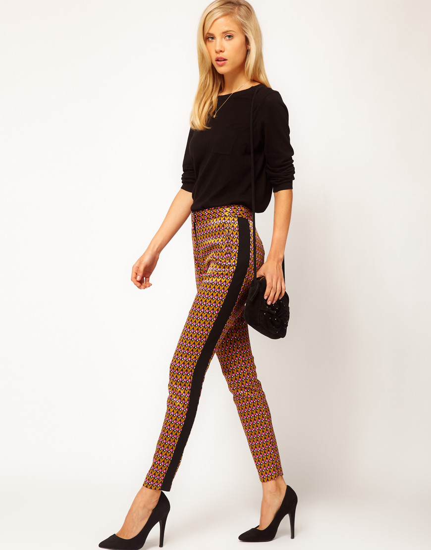 Asos Collection Asos Peplum Top In Sequin In Natural: Asos Collection Geo Print Trousers