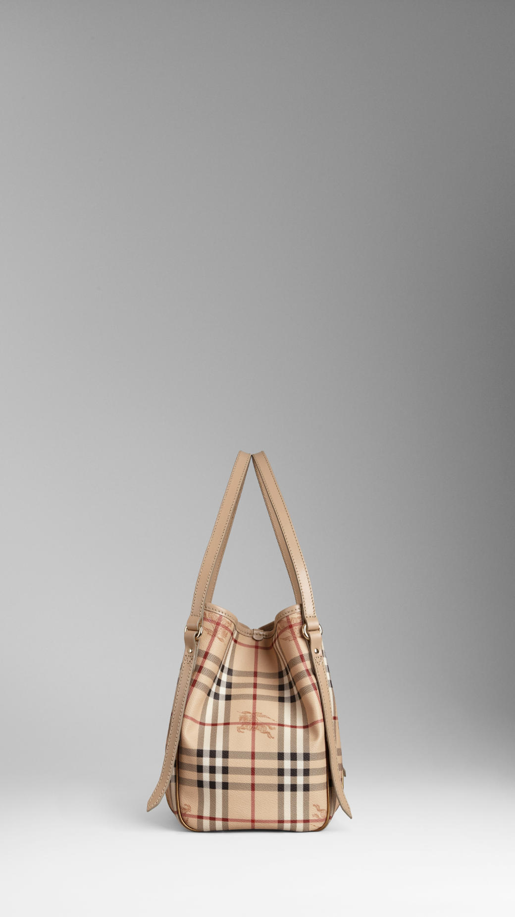 Burberry Small Haymarket Check Metallic Detail Tote Bag in Natural