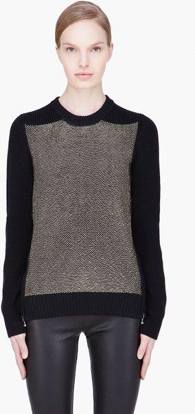 Proenza Schouler Black Matallic Woven Side Zip Sweater in Black