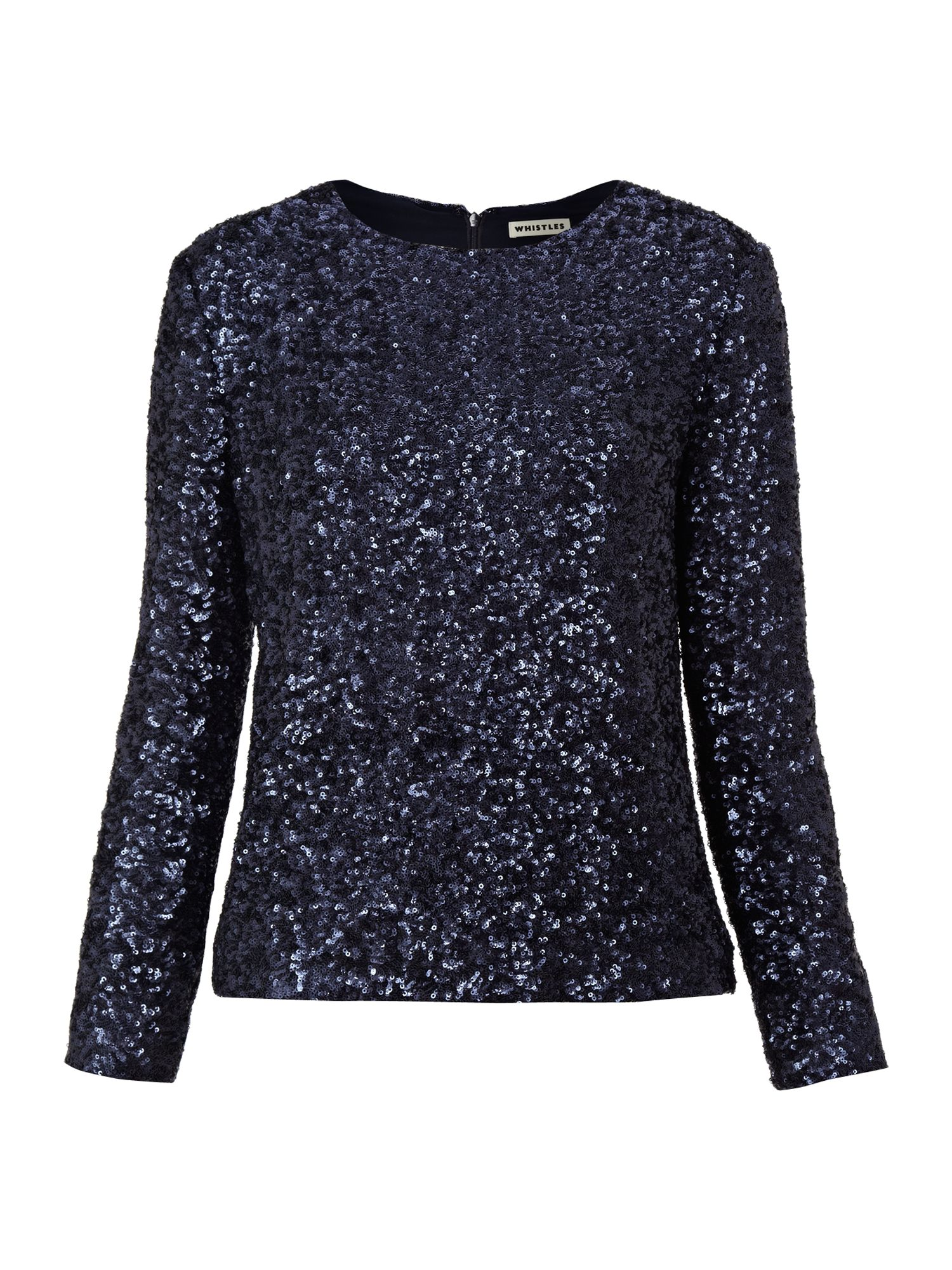 Whistles Delphine Sequin Top In Blue Navy Lyst