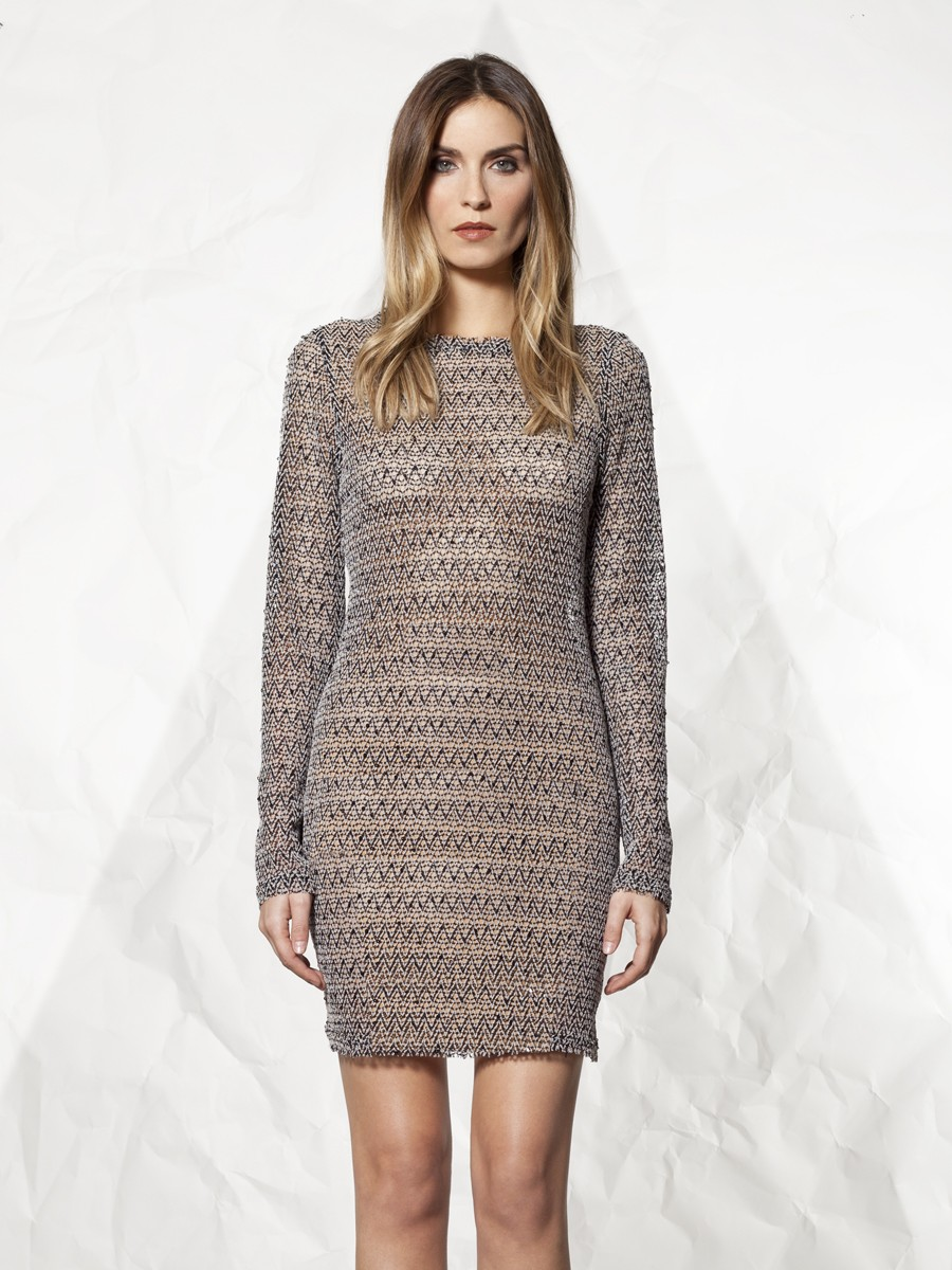 Winter kate Knit Dress in Beige (black and white)