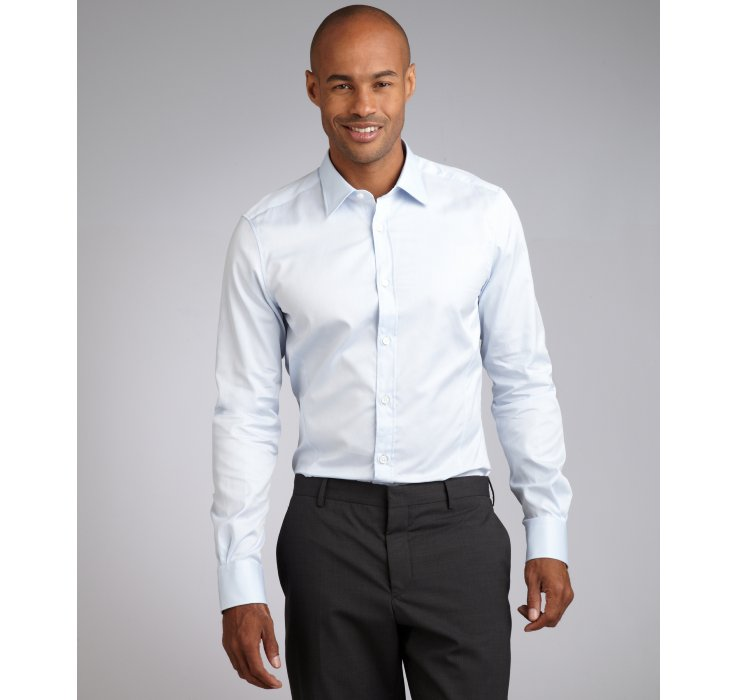 Zegna Point Collar Broadcloth Cotton Dress Shirt In Blue