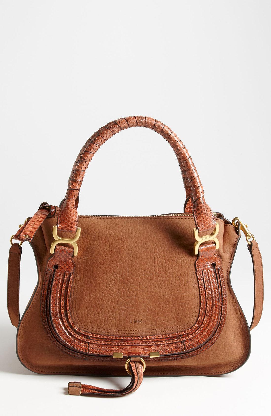 chlo marcie small nubuck leather genuine python satchel. Black Bedroom Furniture Sets. Home Design Ideas