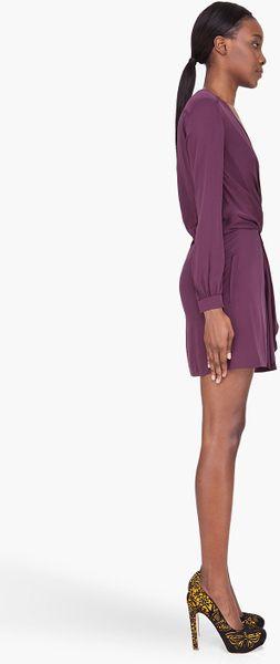 Diane Von Furstenberg Plum Silk Knotted Dora Dress In