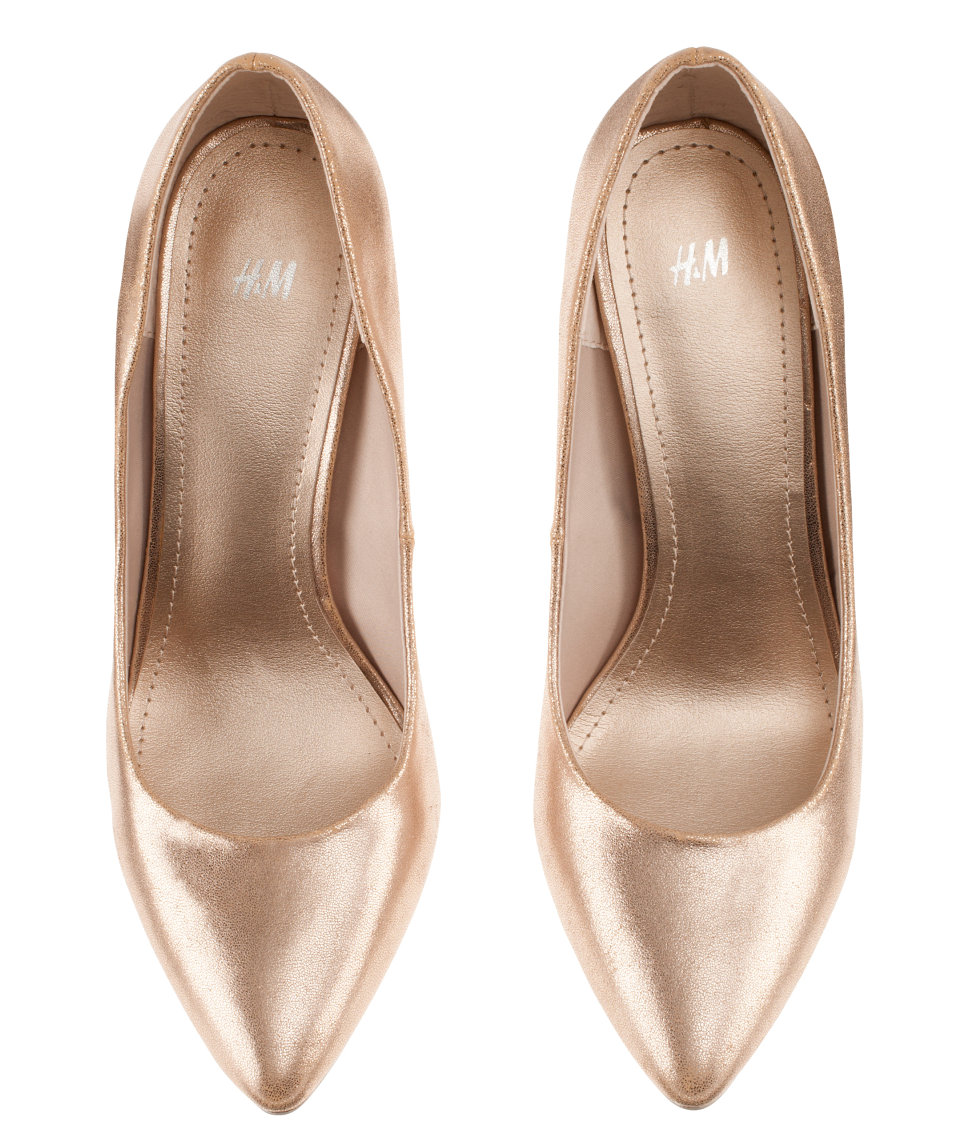 h m shoes in metallic lyst