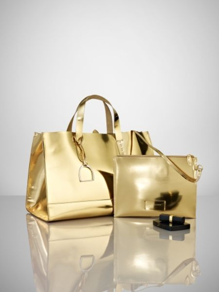 Ralph Lauren Metallic Vachetta Tote In Gold Lyst
