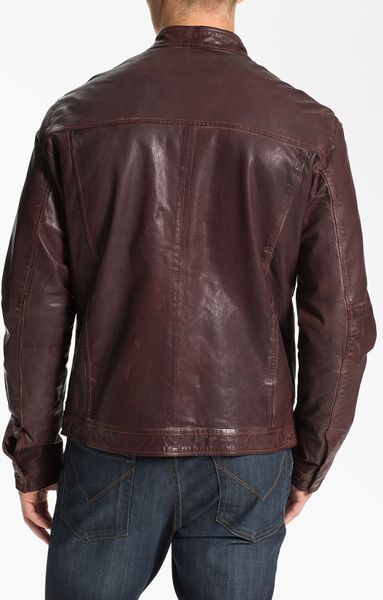 scotch soda leather moto jacket in red for men lyst. Black Bedroom Furniture Sets. Home Design Ideas