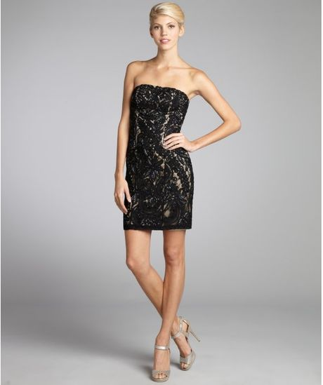 Sue wong lace beaded flower applique strapless dress in black black