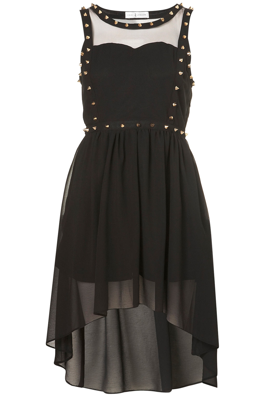 Topshop chiffon stud dress by rare in black lyst for Dress shirt studs uk