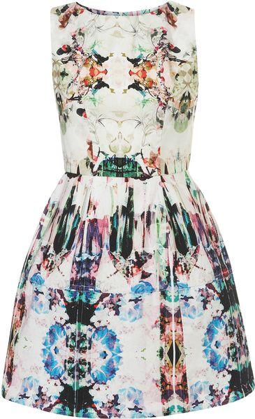 Topshop Camo Print Lantern Dress in Floral (multi)