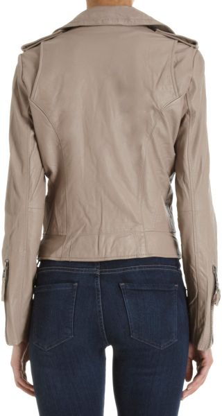 Joie Leather Moto Jacket In Brown Taupe Lyst
