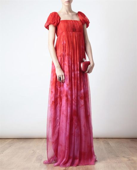 Alexander Mcqueen Floral Printed Chiffon Bustier Gown In