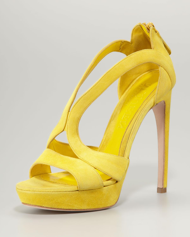 04d6c6ff2af Lyst - Alexander McQueen Suede Cutout Platform Sandal Yellow in Yellow