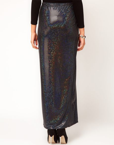 asos collection asos maxi skirt in hologram with thigh