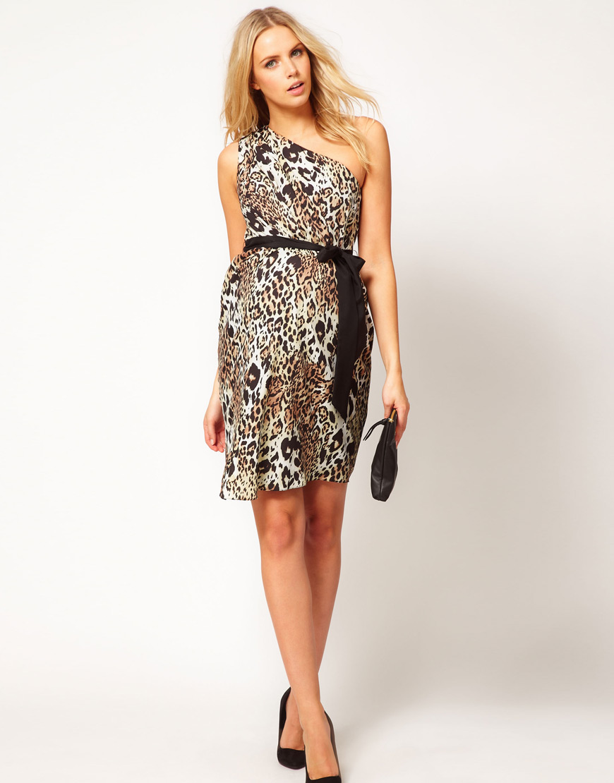 00c14ae9ad352 ASOS One Shoulder Dress in Animal Print - Lyst