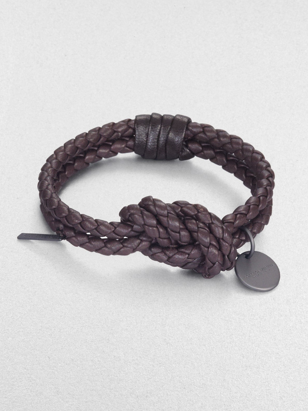 Bottega Veneta Intrecciato Leather Knot Bracelet In Brown