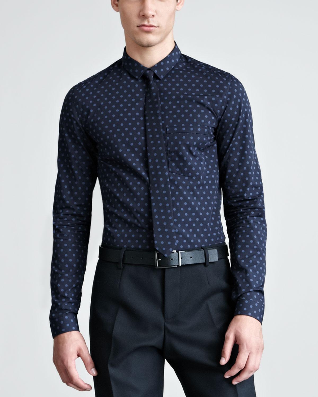 blue polka dot shirt mens