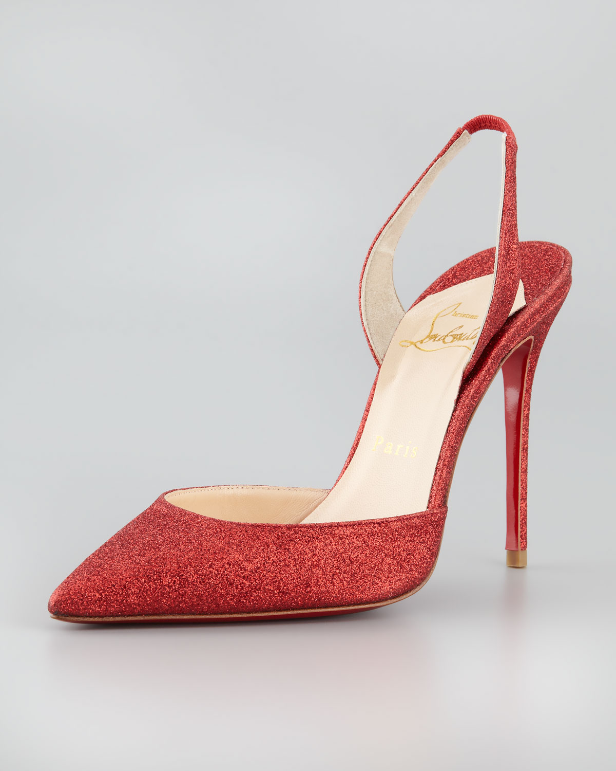 timeless design 31ea5 fa435 Christian Louboutin Ever Glitter Halter Red Sole Pump