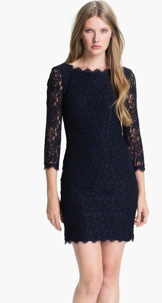 Diane Von Furstenberg Zarita Lace Shift Dress in Black (navy) - Lyst