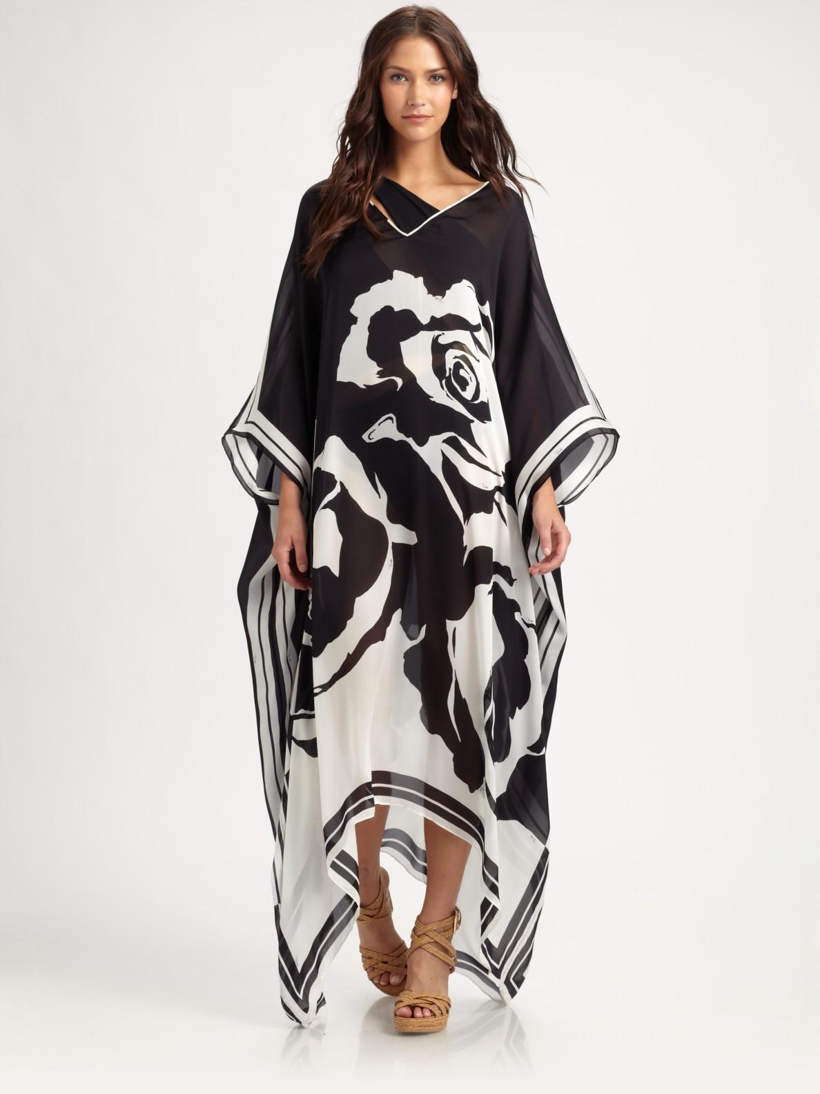 Lyst Emilio Pucci Printed Silk Caftan In Black