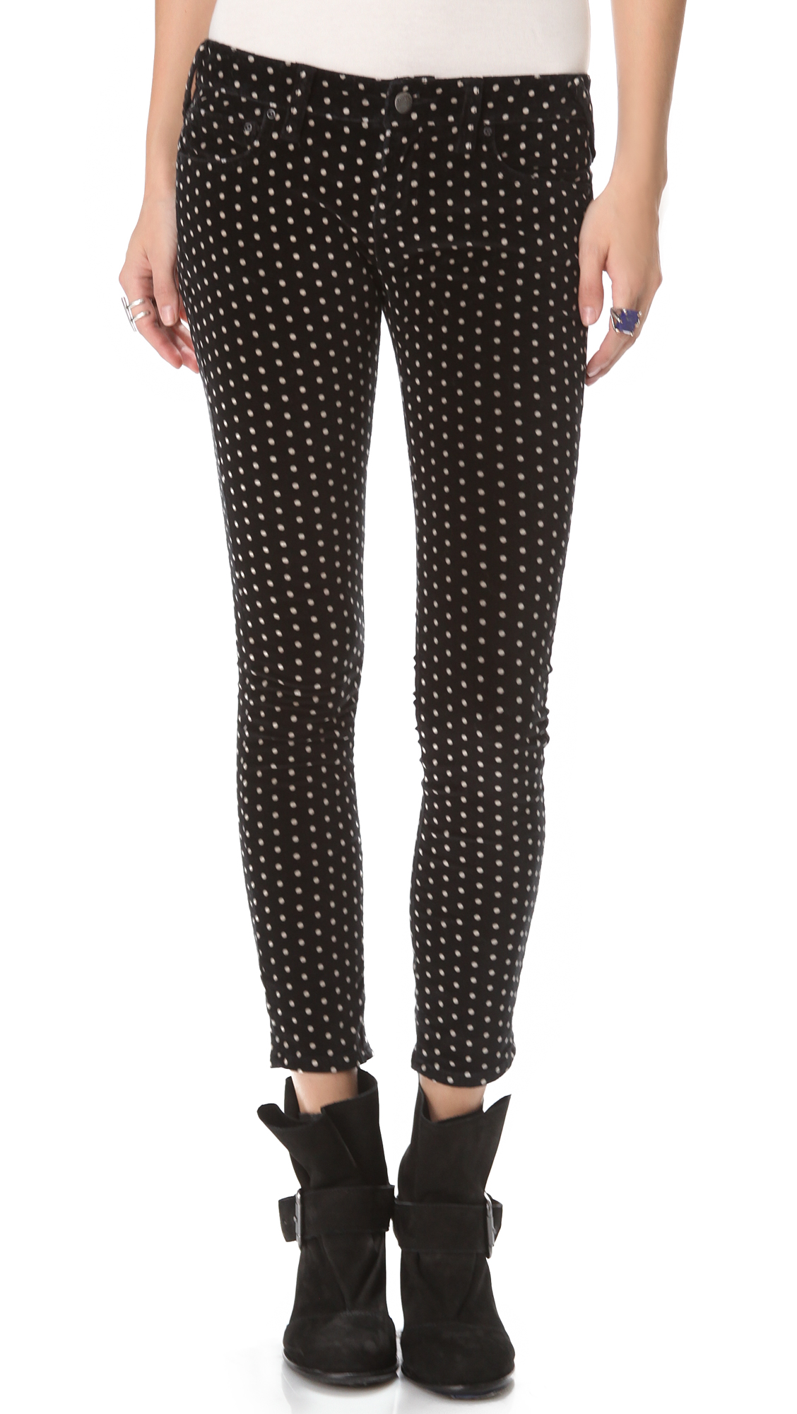 polka dot pants free polka dot velvet in black lyst 30737