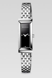 Gucci G-frame Diamond & Stainless Steel Rectangle Watch - Lyst