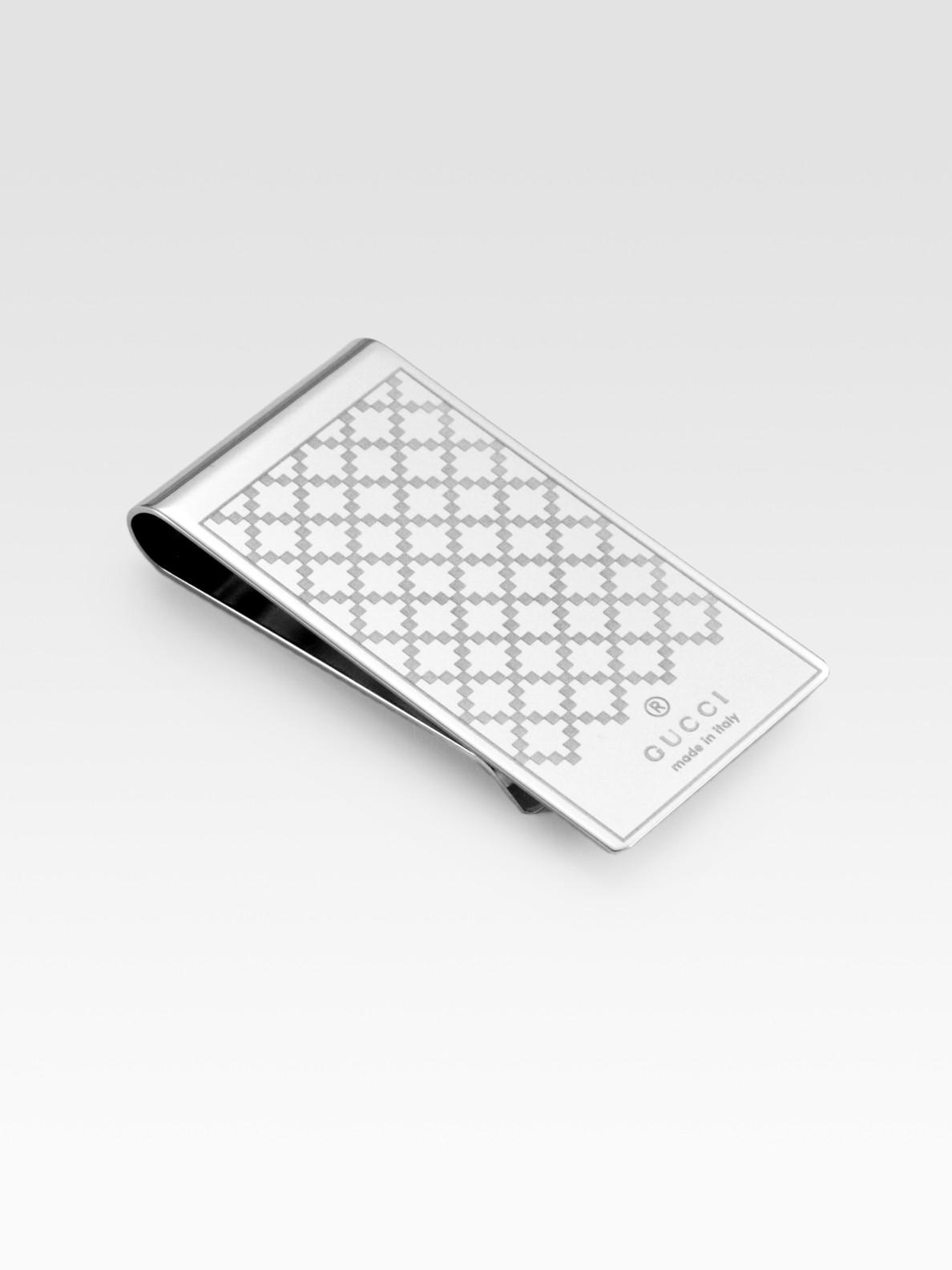 f74b0858 Men's Metallic Diamante Pattern Metal Money Clip