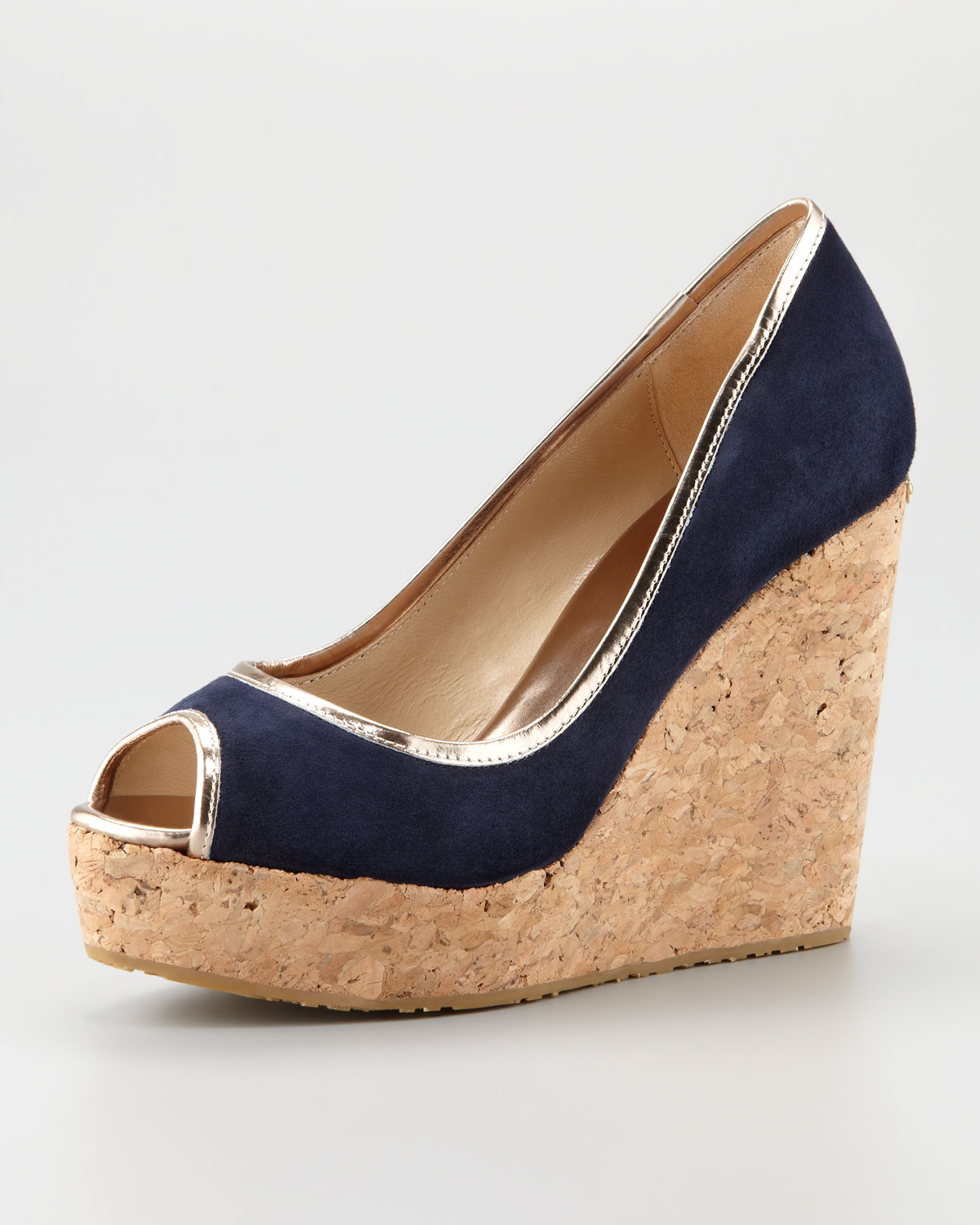 Navy Blue Cork Wedge Shoes