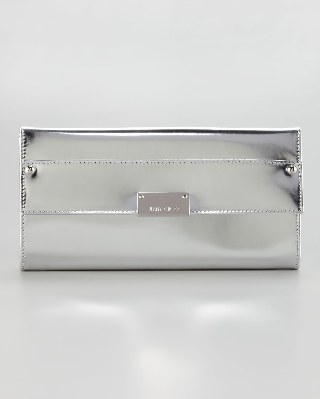 Jimmy choo Reese Metallic Leather Wallet Clutch Bag Silver in ...