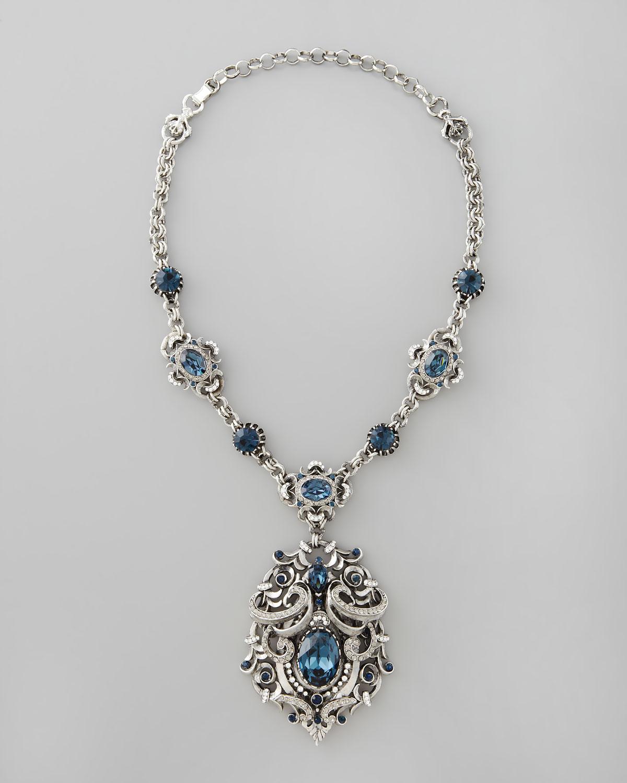 Jose & Maria Barrera White Crystal Flower Pendant Necklace JHPmqnsM0z