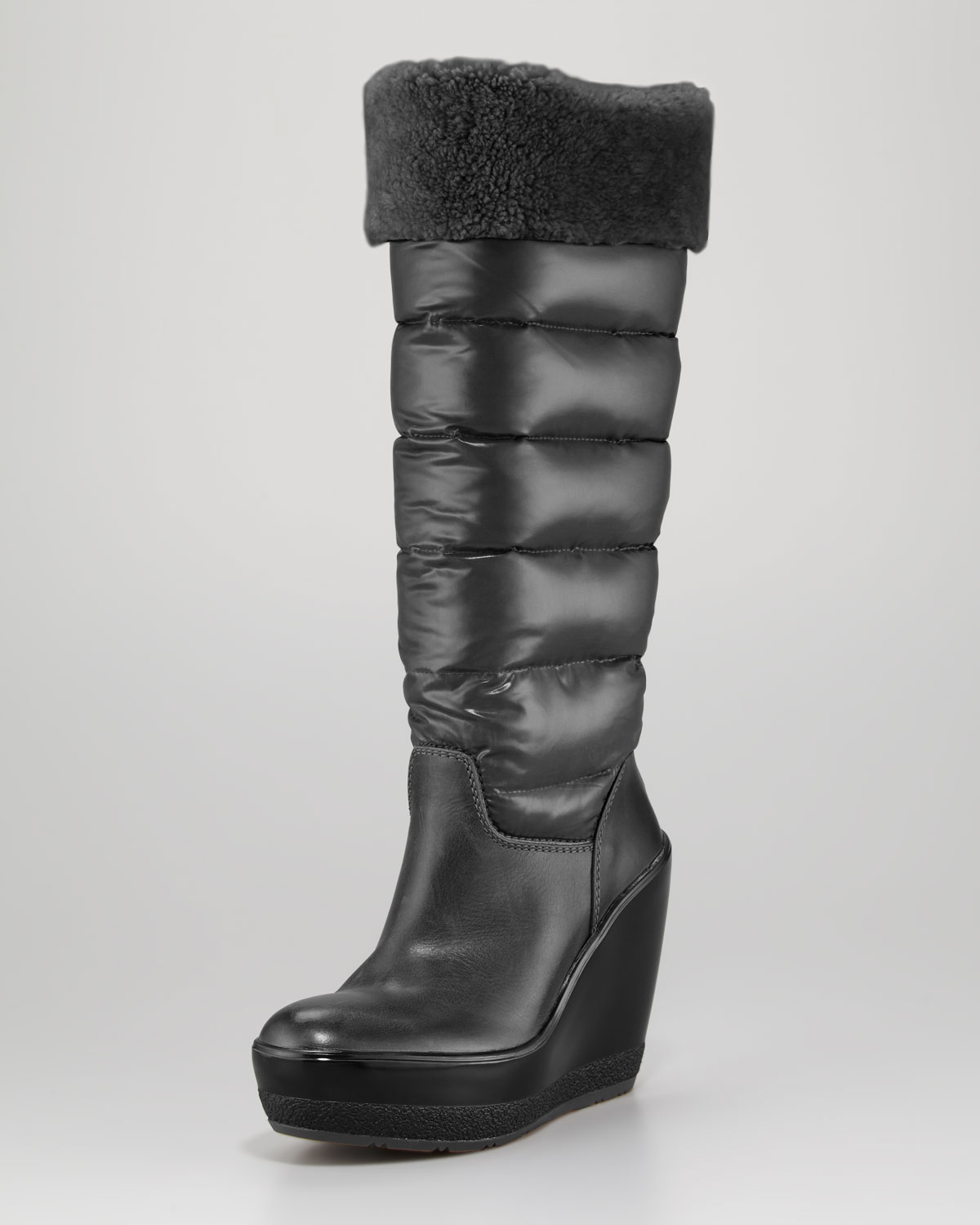 moncler locarno quilted leather wedge boot in black lyst