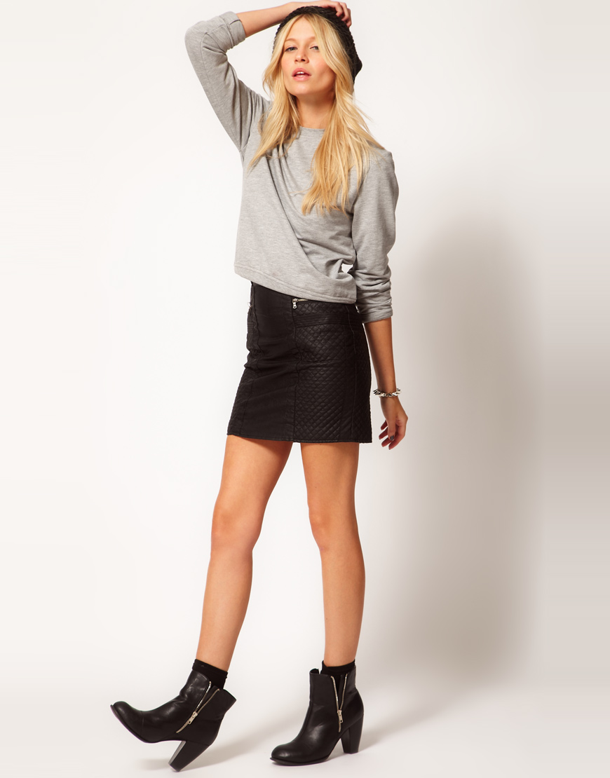 Oasis Leather Look Biker Mini Skirt in Black | Lyst